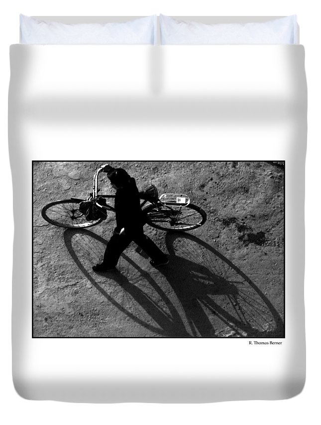 Duvet Cover featuring the photograph Xian Bike Lines by R Thomas Berner