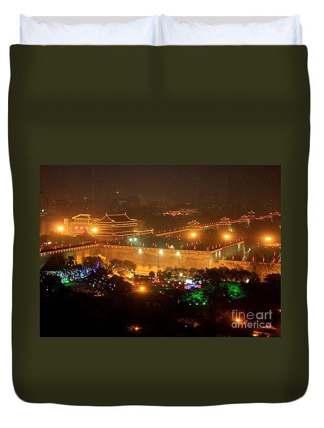 City Skyline Duvet Cover featuring the photograph Xian City Lights by Carol Groenen