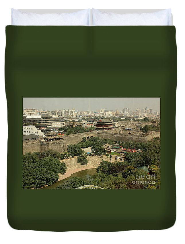 Xi Duvet Cover featuring the photograph Xi'an City Wall With Skyline by Carol Groenen