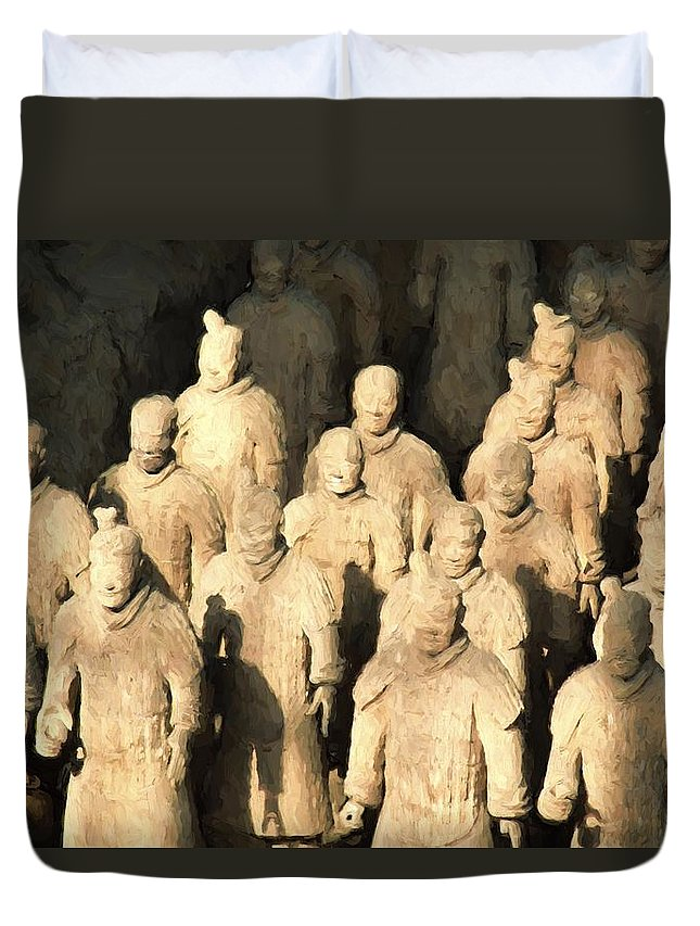 China Duvet Cover featuring the painting Xian Terracotta Warriors by Patrick Hoenderkamp