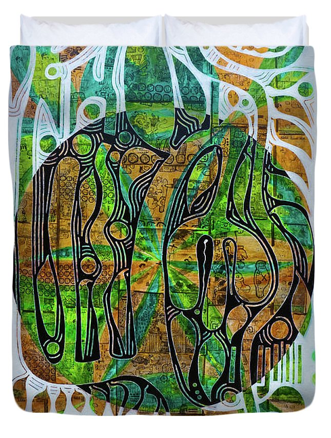 Guadeloupe Duvet Cover featuring the painting Xibalba Forest by Jocelyn Akwaba-Matignon
