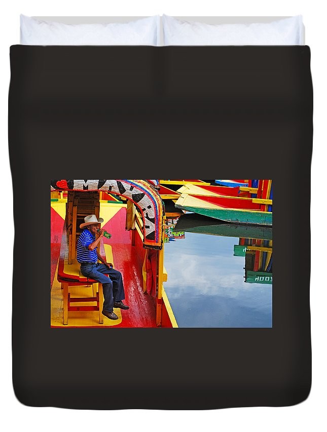 Skip Hunt Duvet Cover featuring the photograph Xochimilco by Skip Hunt