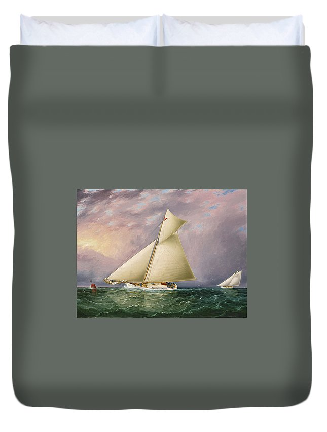 James Edward Buttersworth Duvet Cover featuring the painting Yacht Race In New York Harbor by James Edward Buttersworth