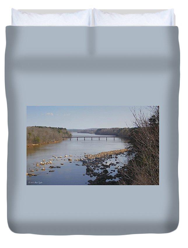 Nature Duvet Cover featuring the photograph Yadkin Below High Rock Dam by Matt Taylor