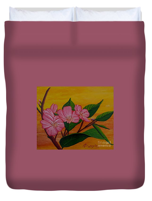 Yamazakura Duvet Cover featuring the painting Yamazakura Or Cherry Blossom by Anthony Dunphy