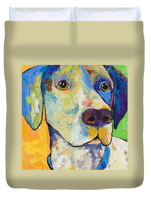 German Shorthair Animalsdog Blue Yellow Acrylic Canvas Duvet Cover featuring the painting Yancy by Pat Saunders-White