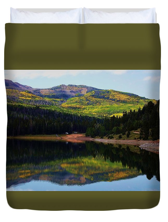 Landscape Duvet Cover featuring the photograph Yankee Meadows Lake by Judy Schneider