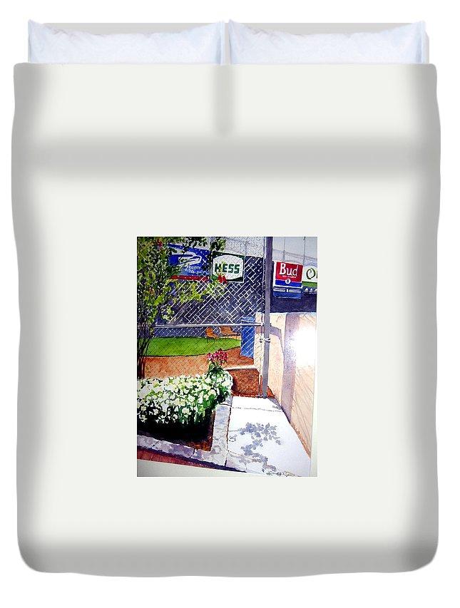 Ballpark Duvet Cover featuring the painting Yankee Stadium by Sandy Ryan