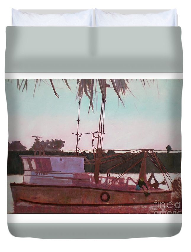 Seascape Duvet Cover featuring the digital art Yankee Town Fishing Boat by Hal Newhouser