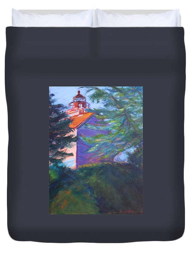 Quin Sweetman Duvet Cover featuring the painting Yaquina Bay Lighthouse by Quin Sweetman