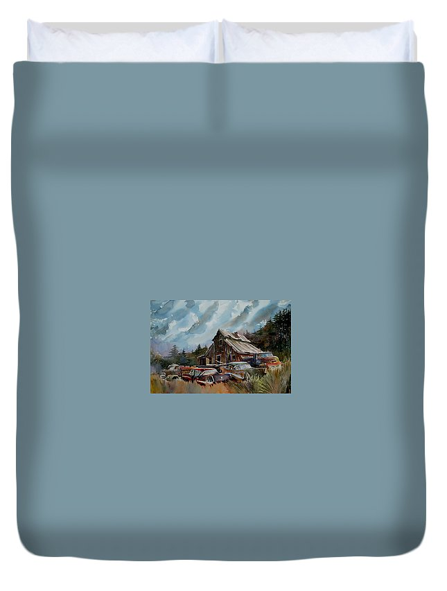 Cars Barn Wrecks Duvet Cover featuring the painting Yardmates by Ron Morrison