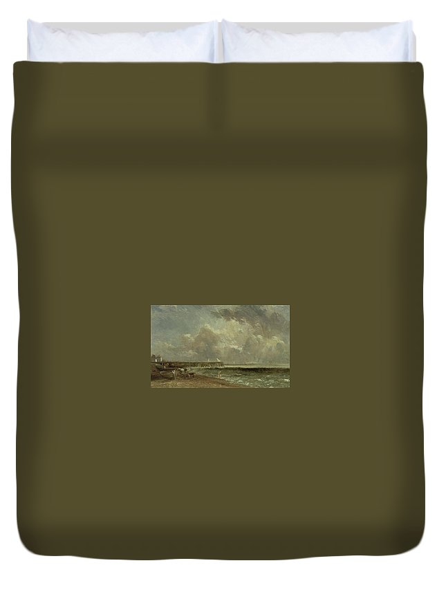 John Constable Duvet Cover featuring the painting Yarmouth Pier by MotionAge Designs