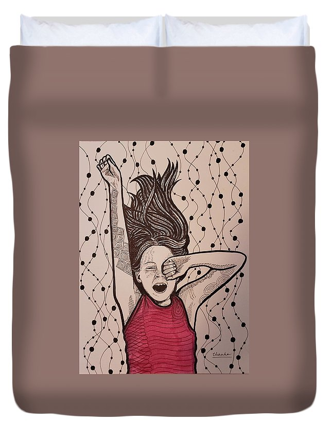 Girl Duvet Cover featuring the drawing Yawn by Thanh Ha Nguyen-Maga
