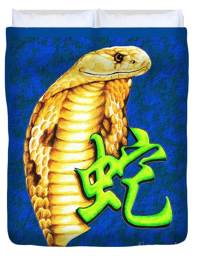 Snake Duvet Cover featuring the drawing Year Of The Snake by Sheryl Unwin