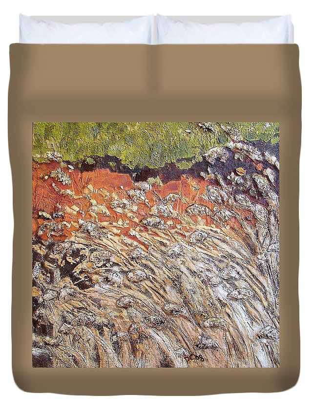 Abstract Duvet Cover featuring the painting Yearning by Piety Choi