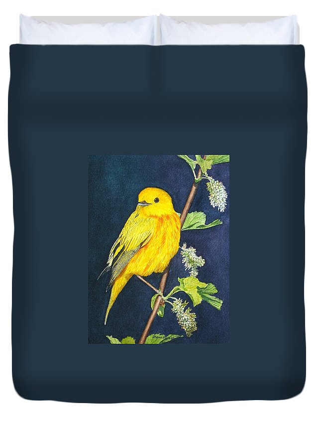 Bird Duvet Cover featuring the painting Yelllow Warbler by Sharon Farber