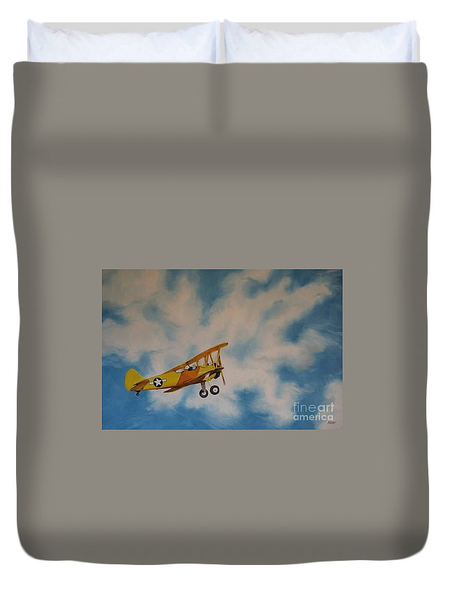 Noewi Duvet Cover featuring the painting Yellow Airplane by Jindra Noewi