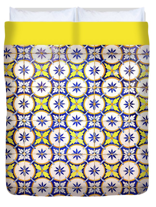 Lisbon Souvenirs Duvet Cover featuring the photograph Yellow And Blue Circle Tile by For Ninety One Days