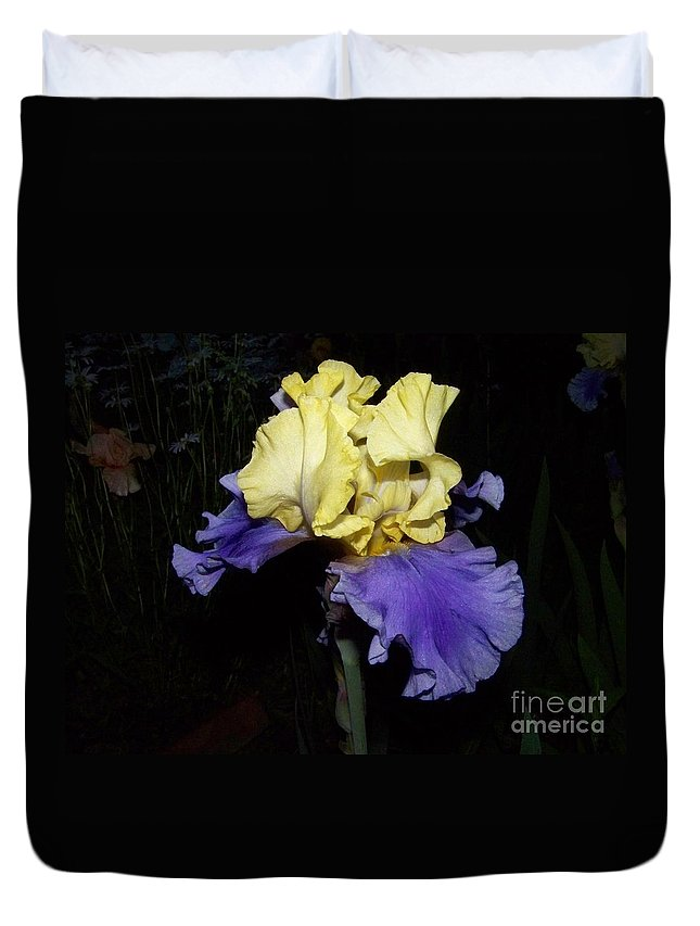 Iris Duvet Cover featuring the photograph Yellow And Blue Iris by Kathy McClure