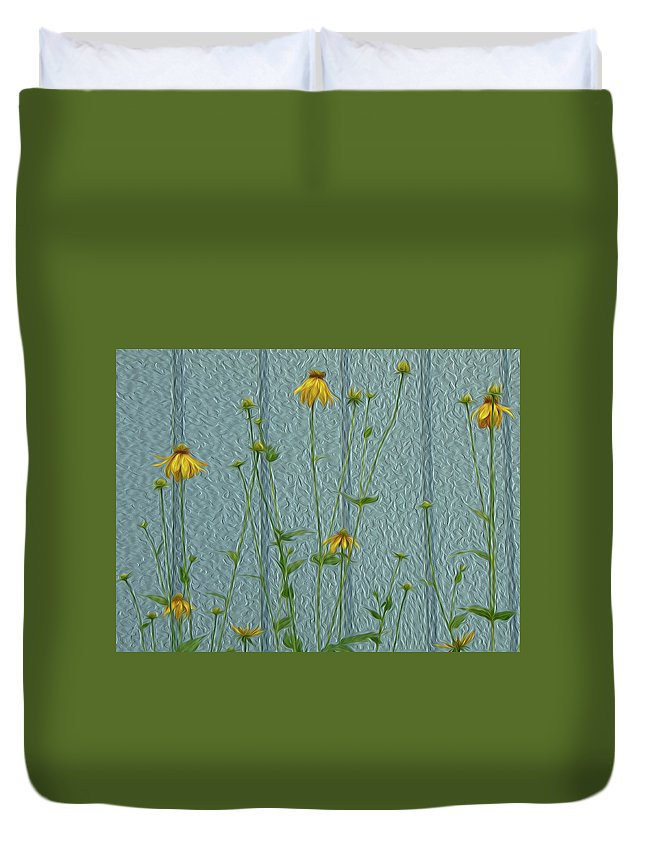 Yellow Duvet Cover featuring the digital art Yellow And Blue by Leah Mealing