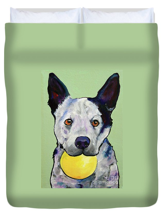 Australian Cattle Dog Duvet Cover featuring the painting Yellow Ball by Pat Saunders-White