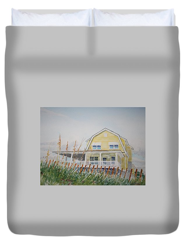 Beach Duvet Cover featuring the painting Yellow Beach House Wrightsville Beach by Tom Harris