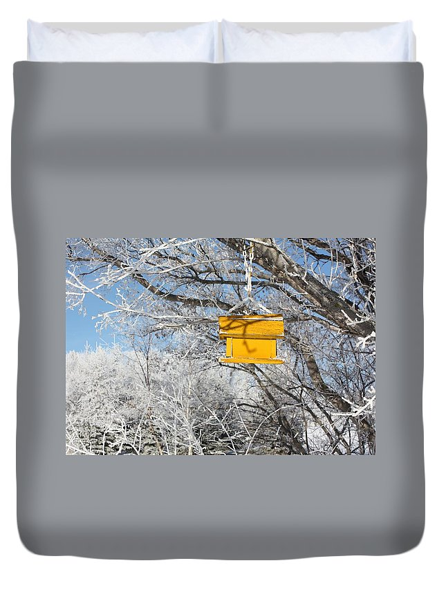 Bird House Duvet Cover featuring the photograph Yellow Bird House by Pat Purdy