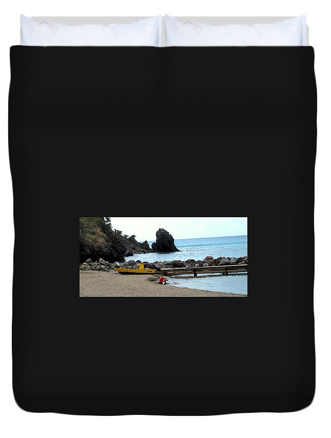 Beach Duvet Cover featuring the photograph Yellow Boat On The Beach by Ian MacDonald