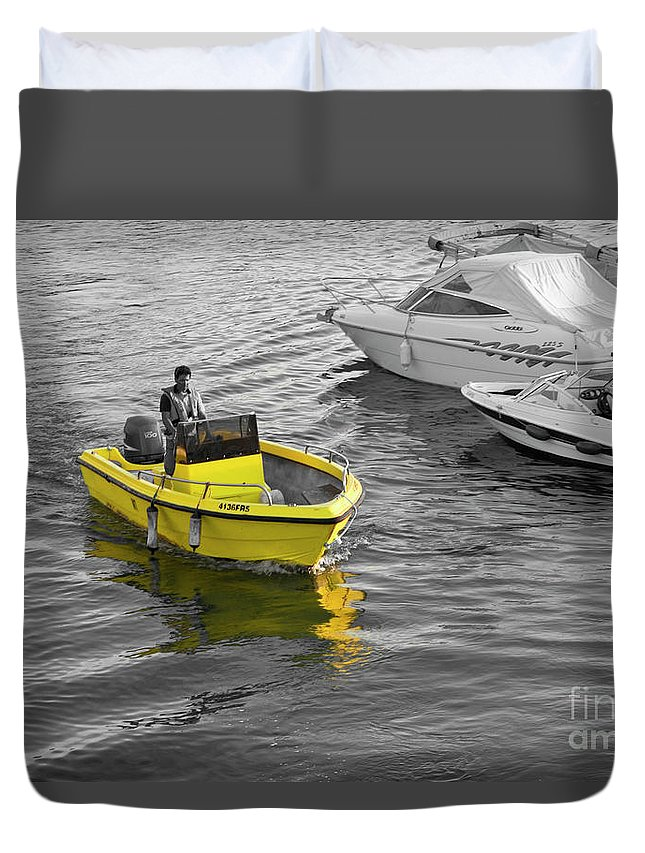 Yellow Duvet Cover featuring the photograph Yellow Boat by Terry Cooper LRPS