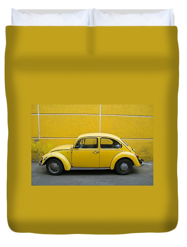 Yellow Duvet Cover featuring the photograph Yellow Bug by Skip Hunt