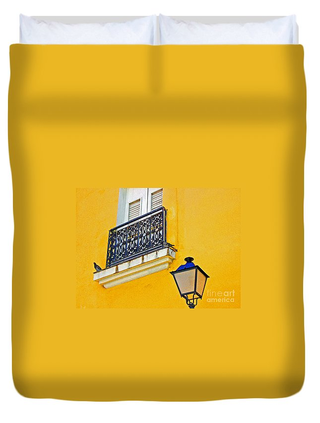 Pigeon Duvet Cover featuring the photograph Yellow Building by Debbi Granruth