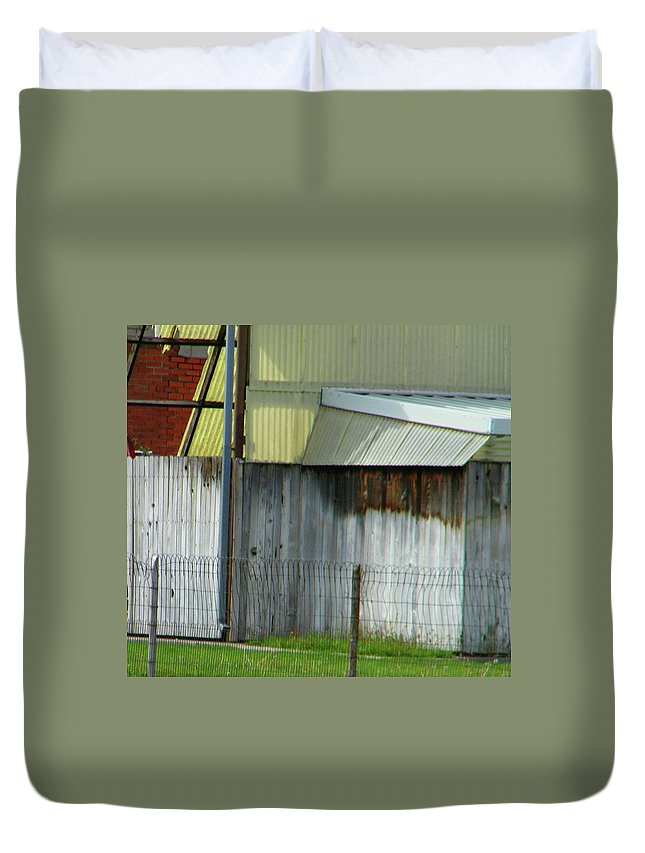 Abstract Duvet Cover featuring the photograph Yellow Building by Lenore Senior