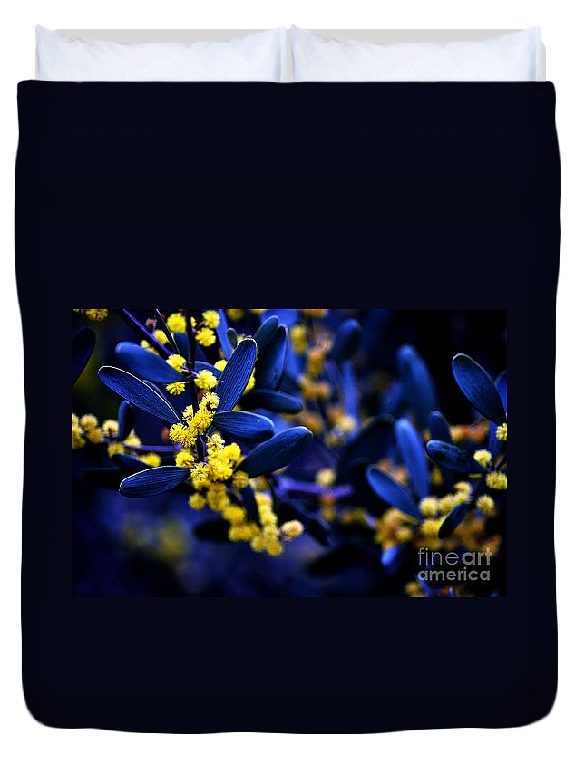 Clay Duvet Cover featuring the photograph Yellow Bursts In Blue Field by Clayton Bruster