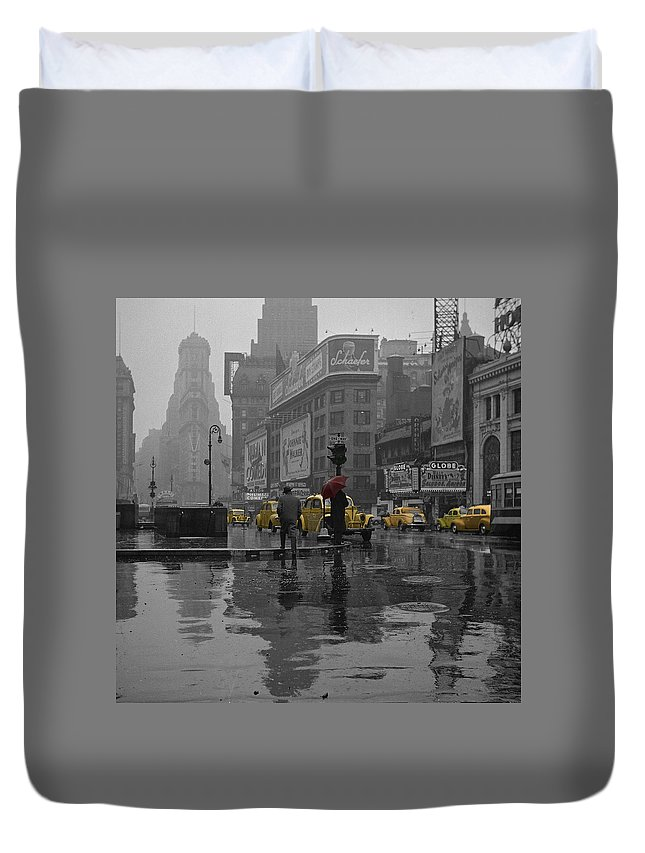 Times Square Duvet Cover featuring the photograph Yellow Cabs New York by Andrew Fare
