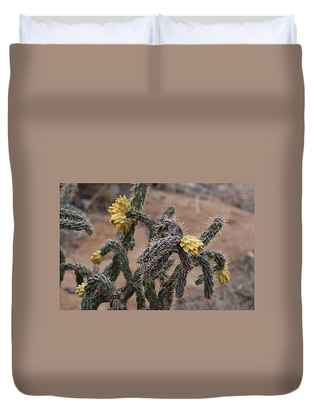 Cactus Duvet Cover featuring the photograph Yellow Cactus by Rob Hans