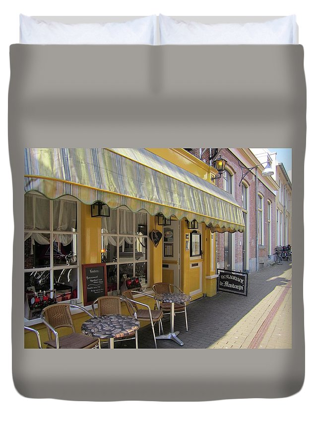 Cafe Duvet Cover featuring the photograph Yellow Cafe by Kat Cortez
