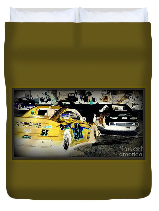 Yellow Duvet Cover featuring the photograph Yellow Car by Anita Goel