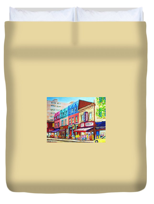 Reastarant Duvet Cover featuring the painting Yellow Car At The Smoked Meat Lineup by Carole Spandau