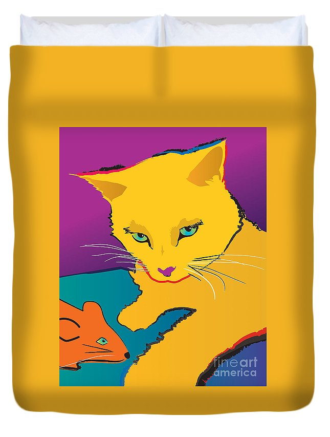 Cat Duvet Cover featuring the painting Yellow Cat by Robyn Saunders