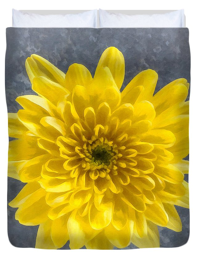 Yellow Duvet Cover featuring the digital art Yellow Chrysanthemum Flower by Liz Leyden