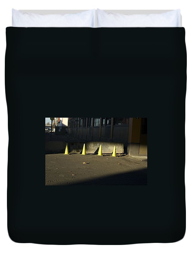 Cone Duvet Cover featuring the photograph Yellow Cones by Sara Stevenson