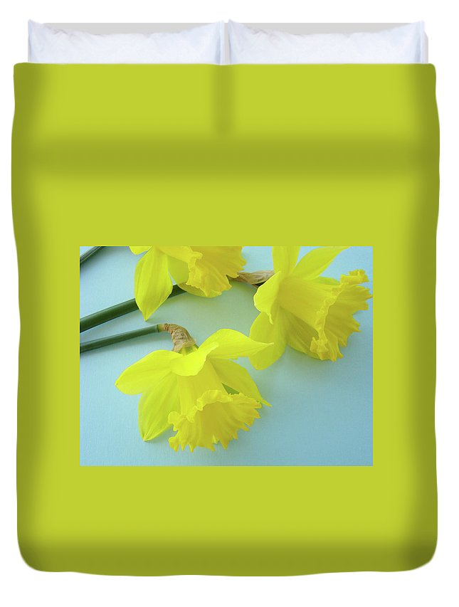 �daffodils Artwork� Duvet Cover featuring the photograph Yellow Daffodils Artwork Spring Flowers Art Prints Nature Floral Art by Baslee Troutman
