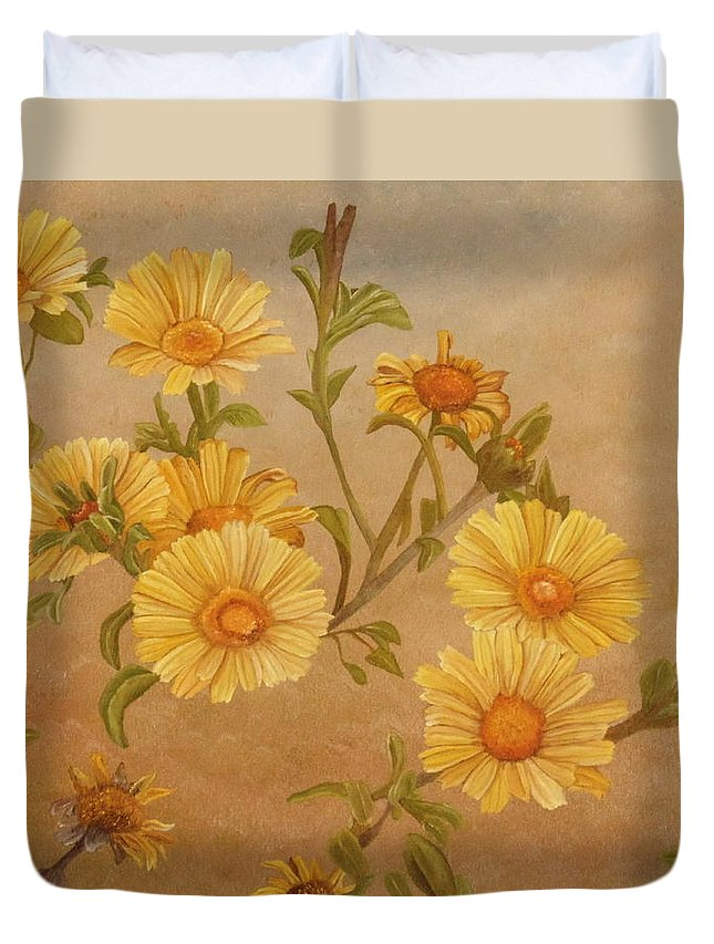 Daisies Duvet Cover featuring the painting Yellow Daisies by Angeles M Pomata