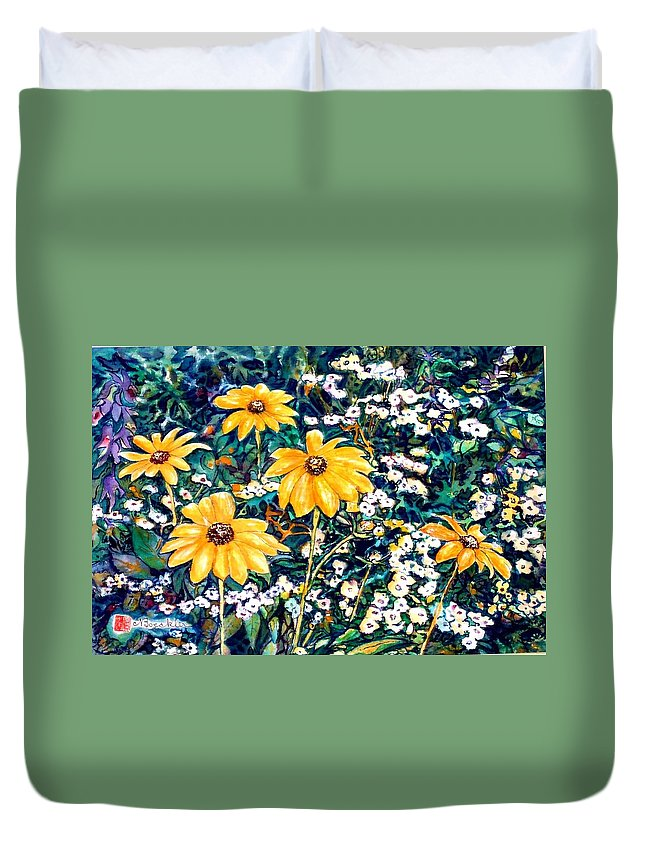 Daisies Duvet Cover featuring the painting Yellow Daisies by Norma Boeckler