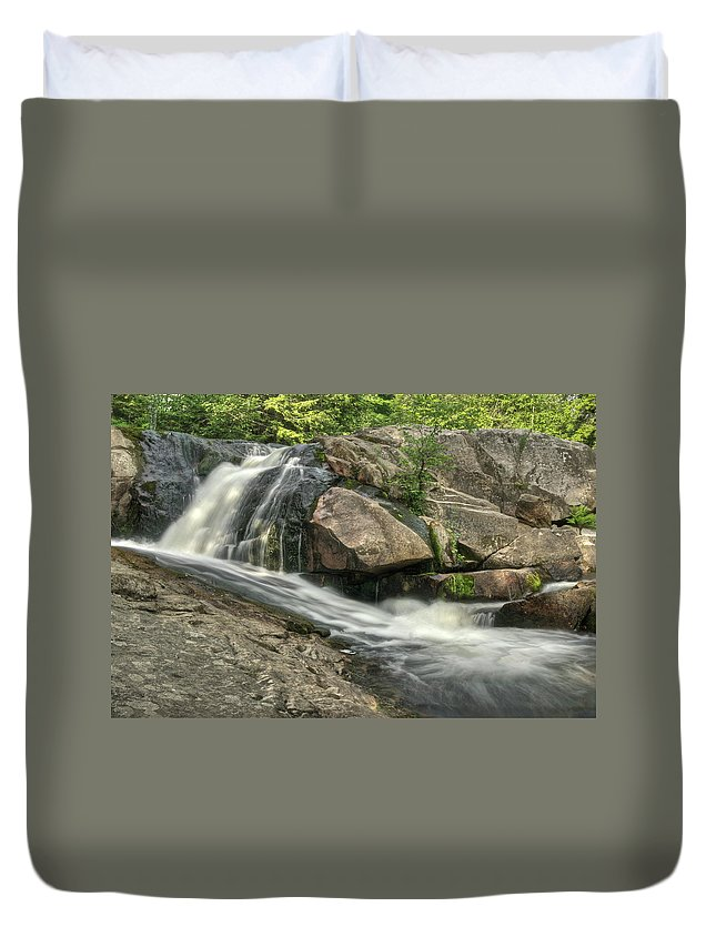 Yellow Dog Falls Duvet Cover featuring the photograph Yellow Dog Falls 4 by Michael Peychich