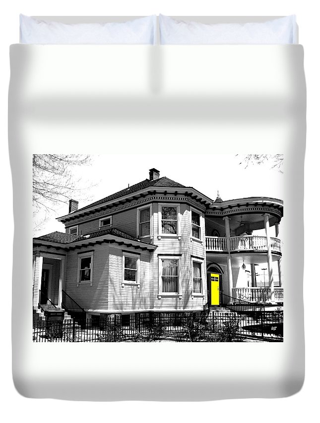 House Duvet Cover featuring the digital art Yellow Door by Will Borden