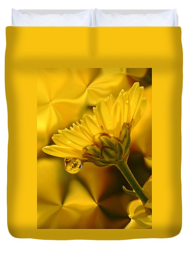 Flowers Duvet Cover featuring the photograph Yellow Drip by Linda Sannuti