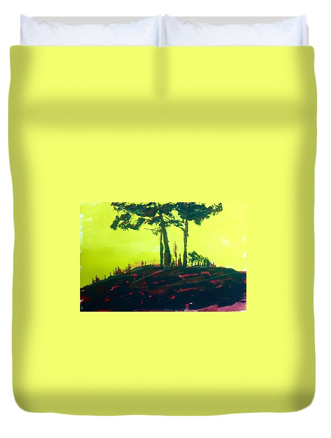 Abstract Landscape Painting Duvet Cover featuring the painting Yellow Dusk by Desmond Raymond