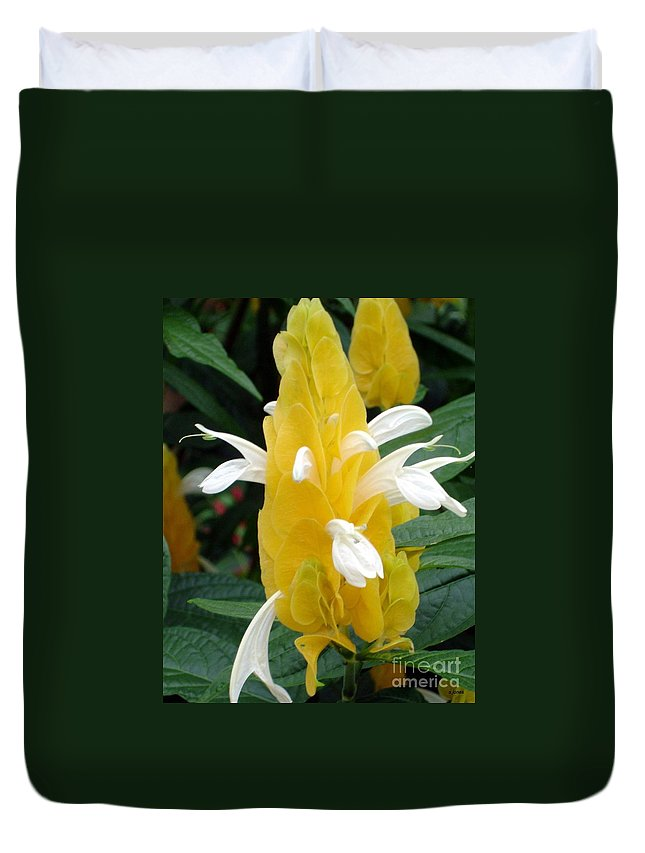 Flower Duvet Cover featuring the photograph Yellow Eruption by Shelley Jones