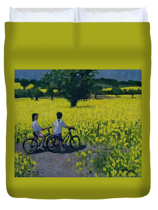 Rapeseed Duvet Cover featuring the painting Yellow Field by Andrew Macara